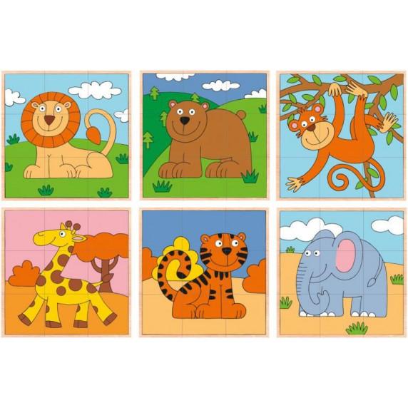 Dřevěné obrázkové kostky 9 ks WOODYLAND - exotická zvířátka