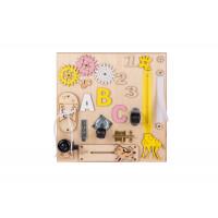 Edukační tabule pro děti 30 x 30 cm MT03 - naturální / žlutá