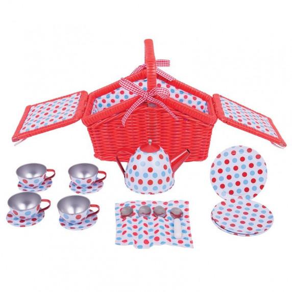Dětská čajová souprava s piknikovým košem - červená puntíkatá
