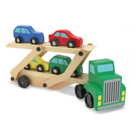 Dřevěný kamion - odtahovka s autíčky MELISSA & DOUG Car carrier truck