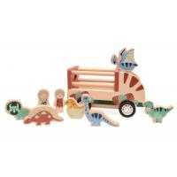 Dřevěné vozidlo na přepravu dinosaurů magna Dino Car