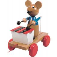 Dřevěná tahací myška s xylofónem WOODYLAND