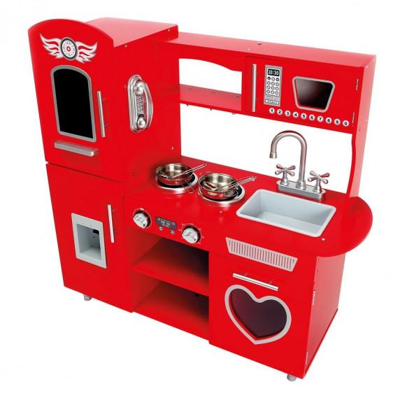 Dětská dřevěná kuchyňka BINO Play Kitchen - červená