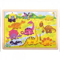 Dřevěné puzzle Bino - dinosaurus