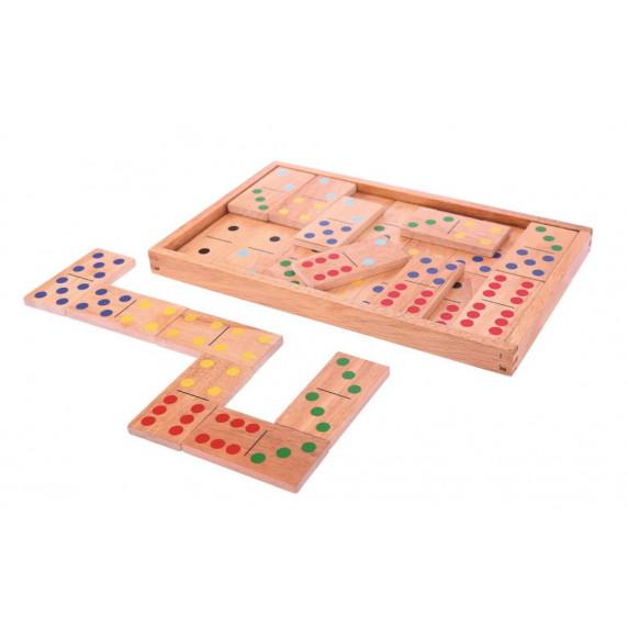 Domino v dřevěné krabičce BIGJIGS Jumbo Dominoes