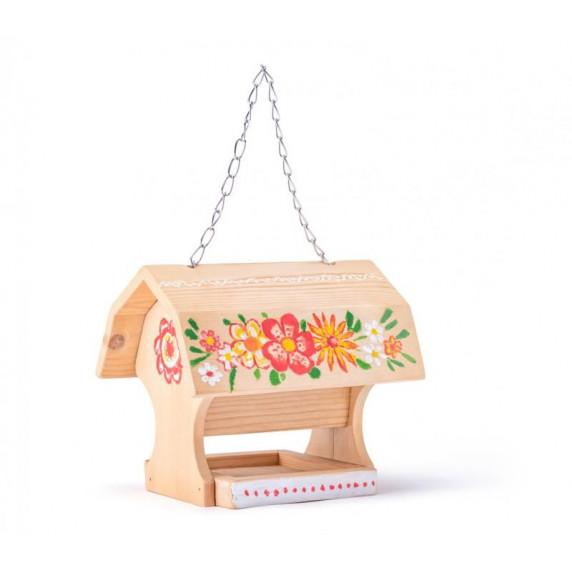 Dřevěné krmítko pro ptáky + 4 barvy a štětec WOODYLAND