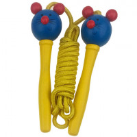 Švihadlo s dřevěnou rukojetí Woodyland Skipping Rope FROG - žluté