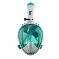 Celoobličejová maska na šnorchlování MASTER S-M - bílá-tyrkysová