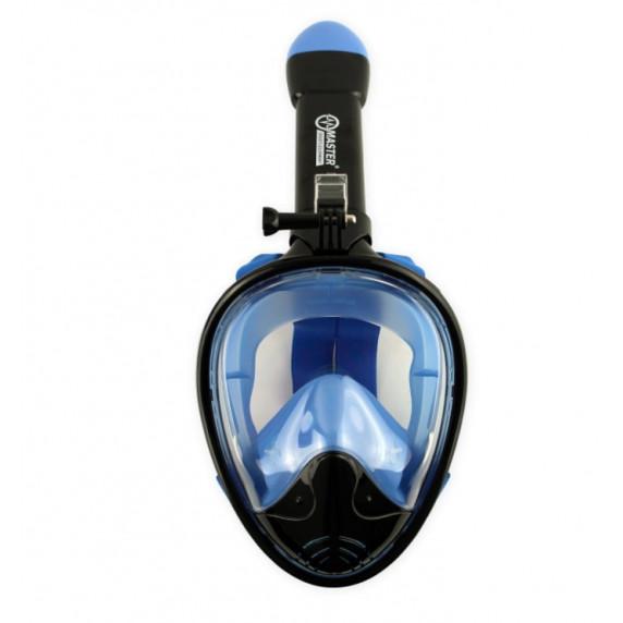 Celoobličejová maska na šnorchlování MASTER S -M - černá-modrá