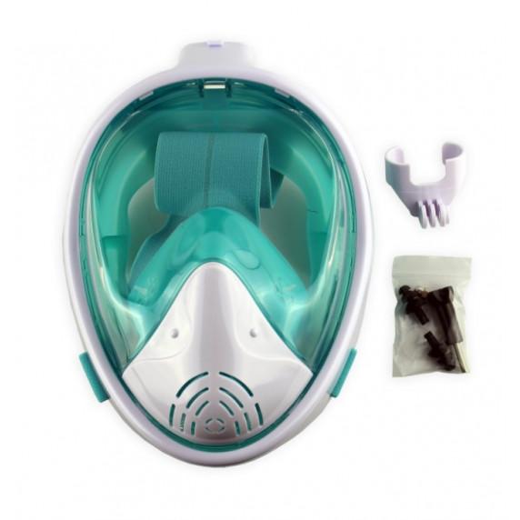 Celoobličejová maska na šnorchlování MASTER L-XL - bílá-tyrkysová