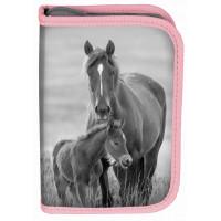 Penál s příslušenstvím PASO HORSE 19 x 13 x 4 cm  - šedo-růžový