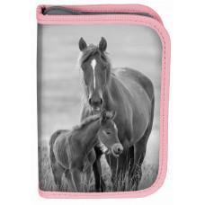 Penál s příslušenstvím PASO HORSE 19 x 13 x 4 cm  - šedo-růžový Preview