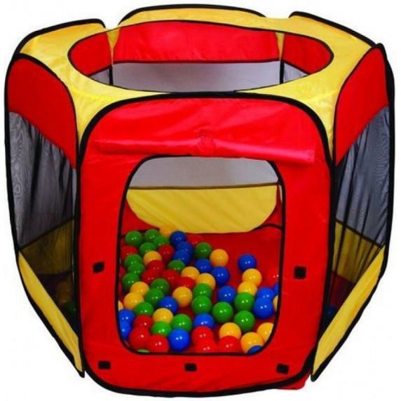Dětský hrací stan s míčky - červený / žlutý Inlea4Fun