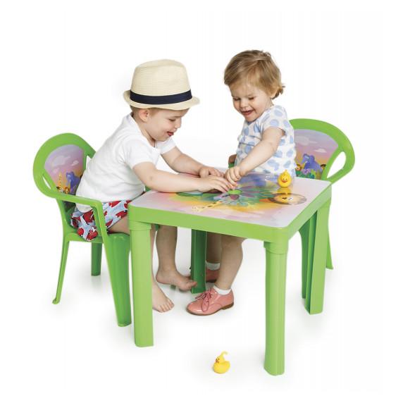 2 židličky + 1 stolek - Zelený Inlea4Fun T02630-T02631