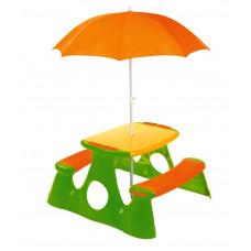 Piknikový stůl pro děti s deštníkem - oranžová / zelená Inlea4Fun Preview