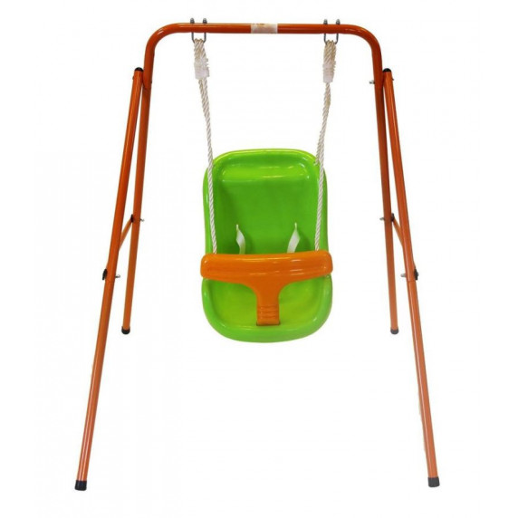 Houpačka s kovovou konstrukcí oranžovo-zelená Inlea4Fun
