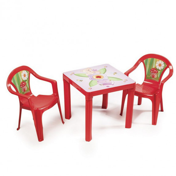2 židličky + 1 stolek - Červený Inlea4Fun T02630-T02631
