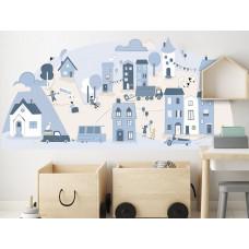 Dekorace na zeď LIGHT BLUE SMALL TOWN 178 x 86 cm - L Preview