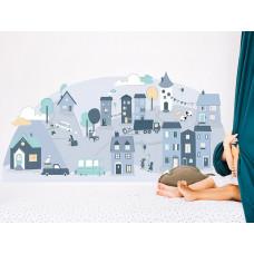 Dekorace na zeď BLUE SMALL TOWN 150 x 72 cm - S Preview