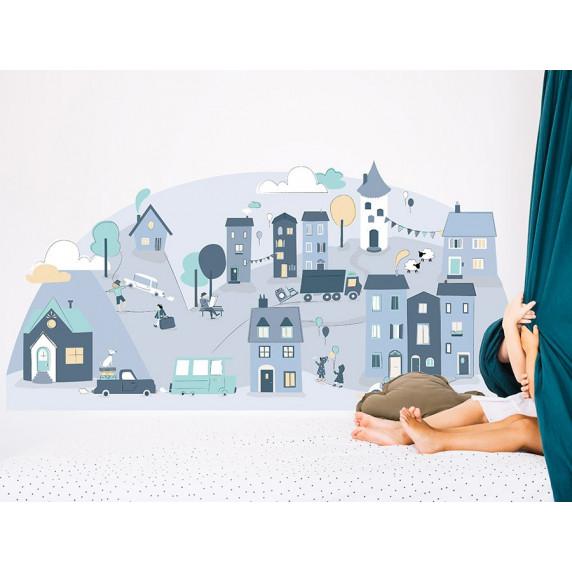 Dekorace na zeď BLUE SMALL TOWN 150 x 72 cm - S