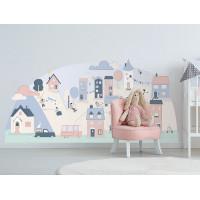 Dekorace na zeď PINK SMALL TOWN 150 x 72 cm - S