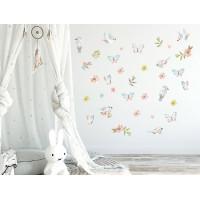 Dekorace na zeď ANIMALS Birds - Ptáčci s motýlky - hnědá