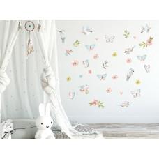 Dekorace na zeď ANIMALS Birds - Ptáčci s motýlky - hnědá Preview