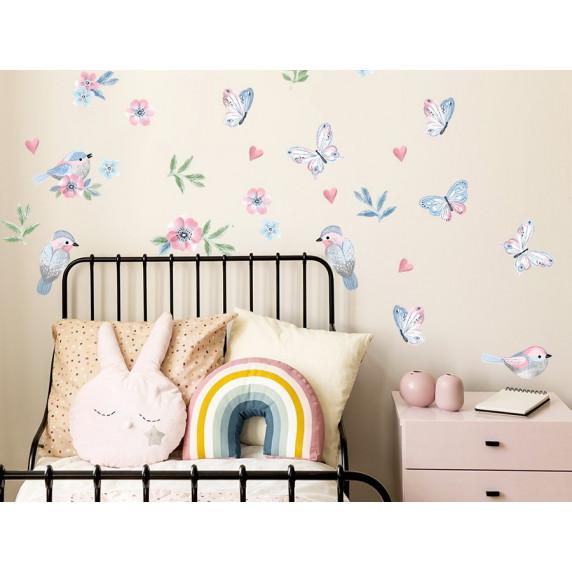 Dekorace na zeď ANIMALS Birds - Ptáčci s motýlky - pink