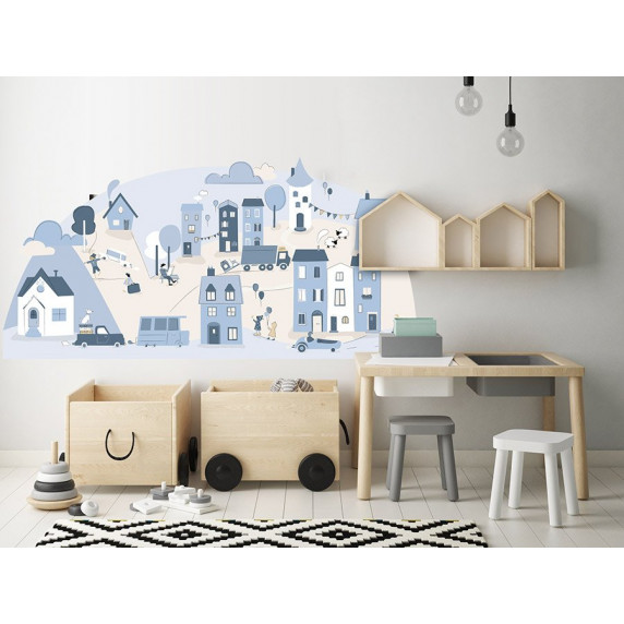 Dekorace na zeď LIGHT BLUE SMALL TOWN 150 x 72 cm - S