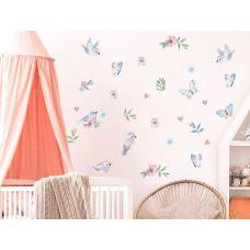 Dekorace na zeď ANIMALS Birds - Ptáčci s motýlky - pink Preview
