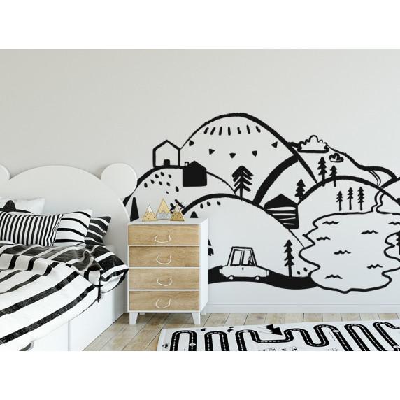 Dekorace na zeď BLACK MOUNTAINS 150 x 75 cm - S
