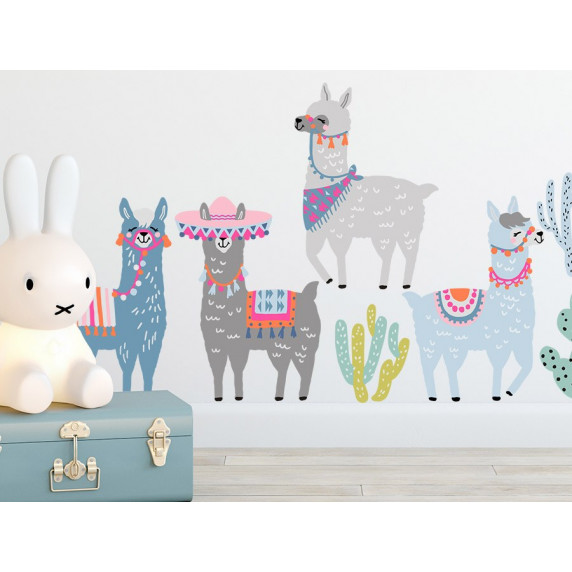 Dekorace na zeď ANIMALS Llamas - Lama pastel
