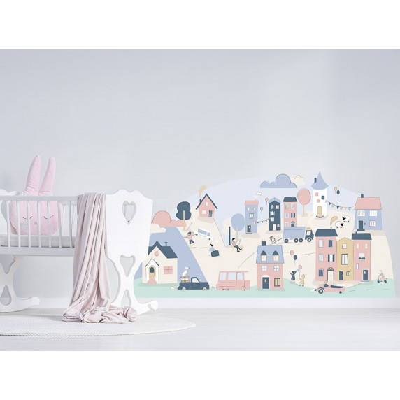 Dekorace na zeď PINK SMALL TOWN 178 x 86 cm - L