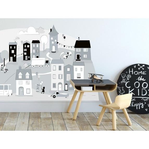 Dekorace na zeď GRAY SMALL TOWN 178 x 86 cm - L
