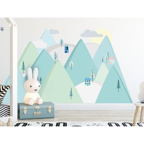 Dekorace na zeď MINT MOUNTAINS 180 x 90 cm - L