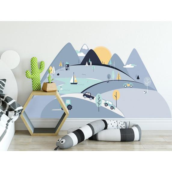 Dekorace na zeď BLUE MOUNTAINS 150 x 75 cm - S