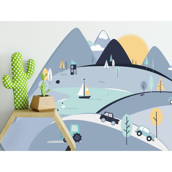 Dekorace na zeď BLUE MOUNTAINS 180 x 90 cm - L