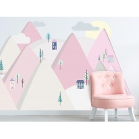 Dekorace na zeď PINK MOUNTAINS 150 x 75 cm - S