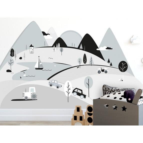 Dekorace na zeď GREY MOUNTAINS 150 x 75 cm - S