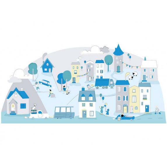 Dekorace na zeď MINT SMALL TOWN 150 x 72 cm - S