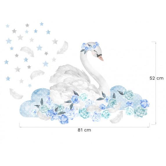 Dekorace na zeď SECRET GARDEN Swan - Labuť modrá