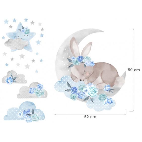 Dekorace na zeď SECRET GARDEN Sleeping Rabbit - Zajíček modrý