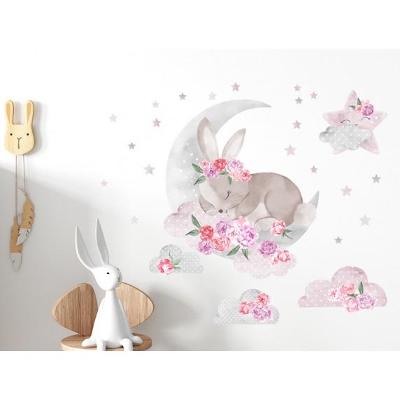 Dekorace na zeď SECRET GARDEN Sleeping Rabbit - Zajíček růžový
