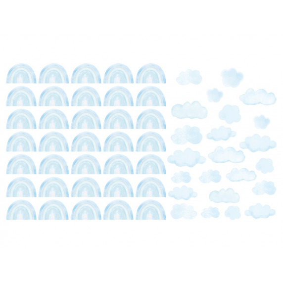 Dekorace na zeď MINI RAINBOW - Malé duhy - modrá