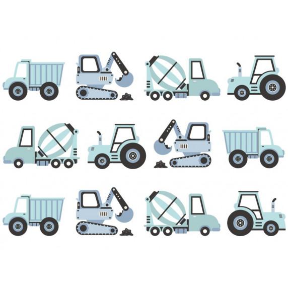 Dekorace na zeď CONSTRUCTION VEHICLES 12 ks - nákladní vozidla modrá