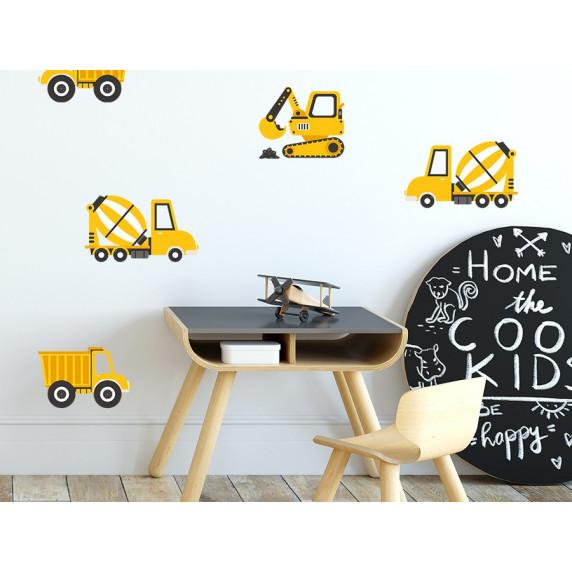Dekorace na zeď CONSTRUCTION VEHICLES 12 ks - nákladní vozidla žlutá