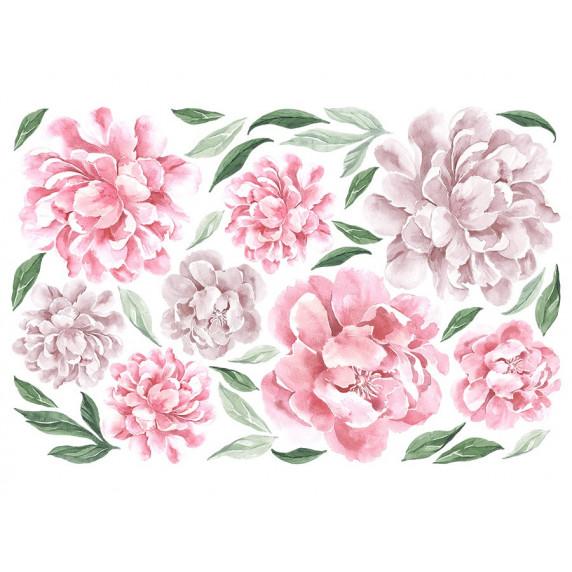 Dekorace na zeď SECRET GARDEN Peony - Květy pivoňky růžové