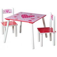 Dětský stolek se židlemi - růžový se srdíčkem