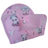 Dětské křesílko panda - růžové
