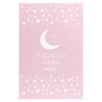 Dětský koberec Milujeme měsíc 100 x 160 cm - růžový